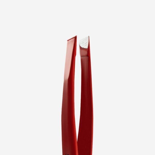 Пинцет для бровей Staleks Pro Expert 11 Type 3r (широкие скошенные кромки), красный