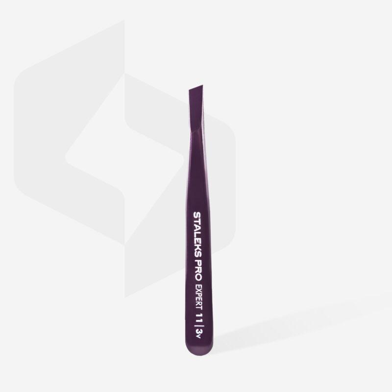Пинцет для бровей Staleks Pro Expert 11 Type 3v (широкие скошенные кромки), фиолетовый
