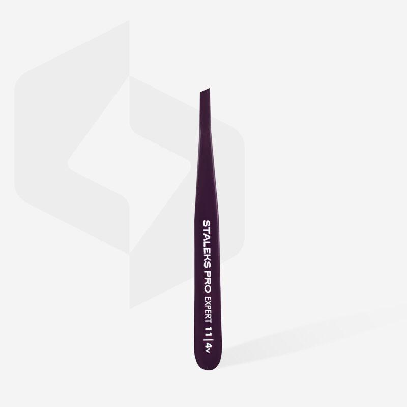 Пинцет для бровей Staleks Pro Expert 11 Type 4v (узкие скошенные кромки), фиолетовый